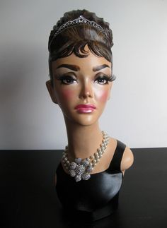 RESERVED for M - Audrey Hepburn Pinup Mannequin Head Jewelry Hat Display