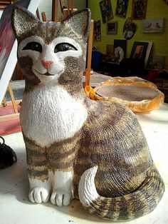 Meow in clay. 60 cm h. april 2014 (sold) By Rooie Heidi.