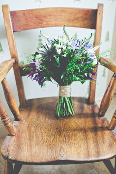 A bouquet that looks like it was just gathered from a walk in the woods.