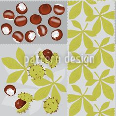 Leaves And Chestnuts designed by Martina Stadler, vector download available on patterndesigns.com
