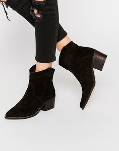 Image 1 ofNew Look Premium Leather Western Boot