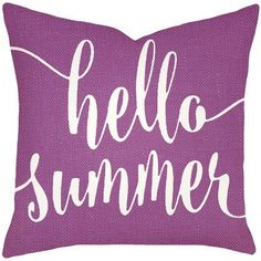 "Mercury Row Boltz Hello Summer Typography Cotton Throw Pillow Size: 18"" H x 18"" W x 6"" D, Color: Purple"