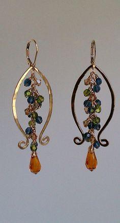 Lyre Lyre Earrings 14K gold Fill and Swarovski by MistyEvansDesign, $130.00
