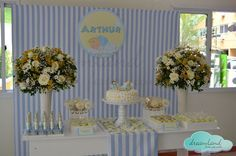 Dessert table at a Baby Boy Baptism!  See more party ideas at CatchMyParty.com!  #baptism #partyideas