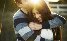 Girl Boy Couple Love Hug Sun Fence HD Wallpaper