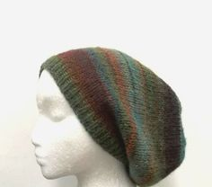 Knit Beanie Beret Slouchy colorful wool blend Hat by CaboDesigns, $26.00
