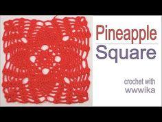 Pineapple Lace  crochet Square part 1Free pattern tutorial by wwwika