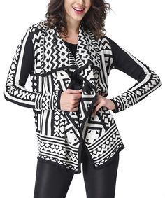 Black & White Tribal Drape Cardigan