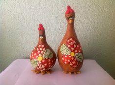 Cabaça - Par de galinhas naturais com flor patchwork - CAB 174 Loja Sonharteira - www.sonharteira.com.br