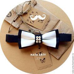 Купить Галстук-бабочка черно-белая с жемчугом - чёрно-белый, аксессуары для свадьбы, аксессуары для фотосессий