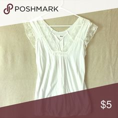 Lacy top White, lacy v-neck top Yag Couture Tops Tank Tops