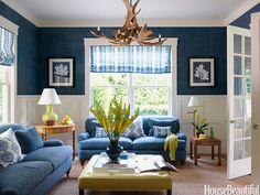The sofa is upholstered in Hinson's Rawlston in Dunham Blue. Design: Meg Braff. #blue #sofa