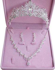 Enjoy exclusive for Bride Headdress Jewelry Wedding Necklace Earrings Set Crystal Crown Tiara online - Protoideas, Diy Abschnitt, Wedding Jewelry Sets, Wedding Accessories, Cute Jewelry, Hair Jewelry, Princess Jewelry, Crystal Crown, Tiaras And Crowns, Bridesmaid Jewelry, Necklaces