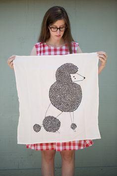 Poodle Tea Towel Printed with Eco Friendly Inks por Gingiber, $18.00