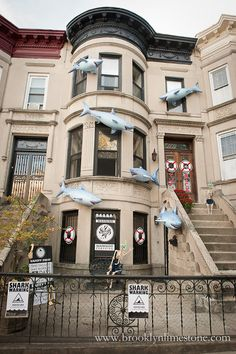 They decorate their house for Halloween every year in a different theme since Pretty cool. Would also make a great decoration for a Sharknado party! Halloween Yard Decorations, Halloween Displays, Halloween Home Decor, Outdoor Halloween, Halloween House, Halloween Themes, Holiday Decor, Shark Halloween, Halloween 2013