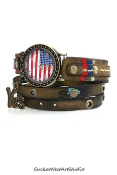 American Flag Wrap Watch, Womens leather watch, Distressed Bracelet Watch, Aged Wrist Watch 태양성카지노ⓑ FKFK14.CO.NR ⓑ태양성카지노 태양성카지노ⓑ FKFK14.CO.NR ⓑ태양성카지노