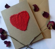 Anniversary Card Romantic Card knitted by SapphiraDesignsKnits