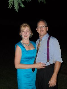 At our son and daughter-in-law's wedding, 2010.  She looks awesome in blue!!