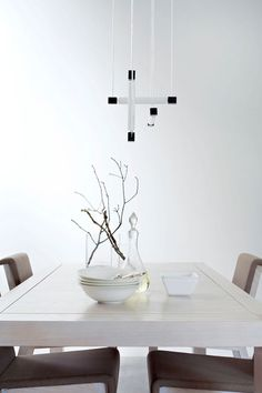 Exterior and Interior House in Beautiful Atmosphere: Small Dining Space In Rietveld Bungalow With Bright Table Wooden Chairs Artistic Lamp A. Interior Decorating, Interior Design, Bungalow, Small Dining, Industrial Chic, White Walls, Timeless Design, Dining Table, Dining Room