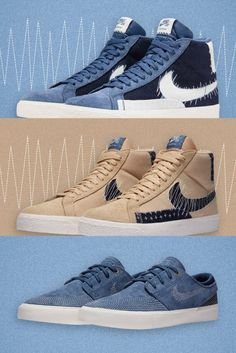 The Nike SB Sashiko shoes are available this week. Get the Blazer Mid Premium and Janoski RM in Sashiko style. Only one pair per customer & order! Release dates: Blazer Mid Premium Sesame - 08.10.2020 - 13:00 (CEST) Blazer Mid Premium Navy - 09.10.2020 - 13:00 (CEST) Janoski RM Premium Navy - 10.10.2020 - 13:00 (CEST) #skatedeluxe #SK8DLX Skate Shoe Brands, Skate Shoes, New Skate, Shoe Releases, Nike Sb, Skateboarding, Dates, Adidas, Blazer