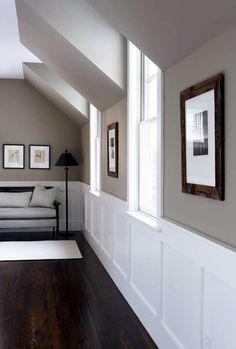 Paint Colour: Benjamin Moore Berkshire Beige / Flat @ DIY Home Design trim, wall color, stairsway Taupe Paint Colors, Hallway Paint Colors, Room Colors, House Colors, Neutral Paint, Gray Paint, Taupe Color, Pottery Barn Paint Colors, Basement Wall Colors