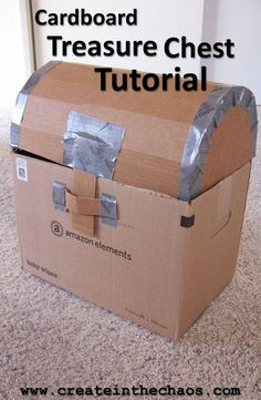 Week Day Cardboard Treasure Chest Tutorial - Create in the Chaos Cardboard Pirate Treasure Chest tutorial - makes a fun treasure chest! Cardboard Pirate Treasure Chest tutorial - makes a fun treasure chest! Pirate Halloween, Pirate Day, Pirate Birthday, Pirate Theme, Boy Birthday, Mermaid Birthday, Pirate Food, Pirate Treasure Chest, Treasure Boxes