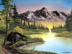 Peaceful Landscape Paintings by Bob Ross - Bob Ross Landscape Paintings : Mountain Retreat 2