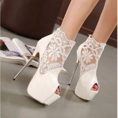 Peep Toe Lace Ankle High Heel Women Shoes Oh my! I can't wear shoes with cigarette heels but the lace is perfect for weddings.ScarlettAvery… The post Peep Toe Lace Ankle High Heel Women Shoes appeared first on Best Of Likes Share. Platform High Heels, High Heels Stilettos, High Heel Boots, Stiletto Heels, White High Heels, Sandals Platform, Prom Heels, White Pumps, White Sandals