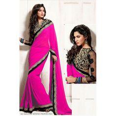 Buy Riya Fashion Pink Georgette Saree by Riya fashion84, on Paytm, Price: Rs.1249