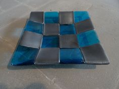 Blue steel checkerboard dish by thejoyofglass on Etsy, $30.00
