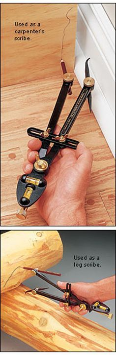 Veritas® Transfer/Log Scribe ::   The Veritas transfer scribe is used for transferring the contours of one shape onto another. This is what makes it an ideal log scribe. But this also makes it an excellent carpenter's scribe.  |  http://www.leevalley.com/US/wood/page.aspx?p=32577&cat=1,41131