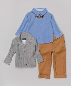 Look what I found on #zulily! Gray Cable-Knit Cardigan Set - Toddler #zulilyfinds
