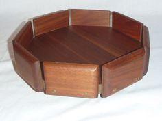 VIntage Mid Century Walnut Wood Pedestal Fruit Centerpiece Bowl