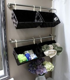 Hang Baskets on Towel Rods