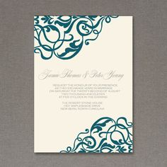 Invitation Template: Corner Scroll Design