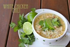 White Chicken Chili in the slow cooker is quick and easy for week night dinners! by whatscookingwithruthie.com #recipes #chicken #crockpot