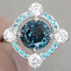 Birthday Gifts Natural Round Diamond Cut London Blue Topaz With Blue Aquamarine and White Sapphires 925 Sterling Silver Ring Size 7 Wedding Anniversary Rings, Anniversary Jewelry, Wedding Rings, Lab Diamonds, Round Diamonds, Topaz Jewelry, Jewellery, Jewelry Gifts, Fine Jewelry