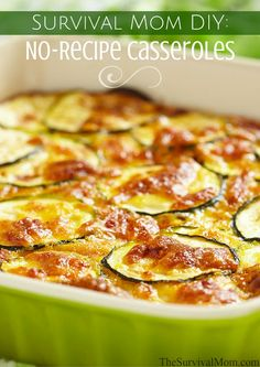 Make a No-Recipe Casserole easily with basic ingredients you already have on hand. Food storage casseroles can be made just by combining 7 different categories of ingredients.