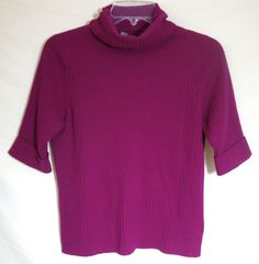 100% Cashmere Sweater Pink Magenta Cowl Neck Short Sleeve Pullover Women Medium #Unbranded #CowlNeck