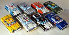 Full Set of 8 Vintage Tin Friction Cars by Nakamura of by bobboot