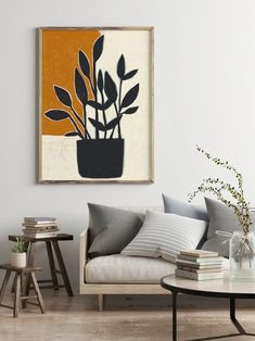 Abstract and plant art prints by artist Sarah Golden. Art Prints For Home, Fine Art Prints, Art For Home, Framed Art Prints, Canvas Prints, Art Minimaliste, Minimal Art, Minimalist Painting, Diy Canvas Art