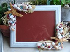 Red, White, Blue Rustic Seaside Cottage 8x10 Frame w Beach Shells, Sugar Starfish, Red Pipe Organ Coral, Blue Limpet Seashells