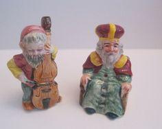 Vintage Ceramic OLD KING COLE & FIDDLER Salt & Pepper Shakers Nursery Rhyme