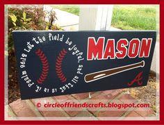Photo on My Crafts @ circleoffriendscrafts.blogspot.com / Baseball Sign with Hooks