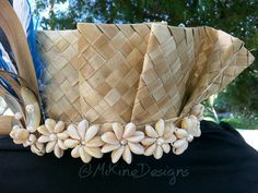 READY TO SHIP Ruffled Lauhala Side Headpiece