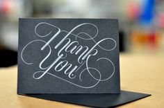 Thank You Letterpress Folding Card Set of 2 by PalmettoPress, $6.00