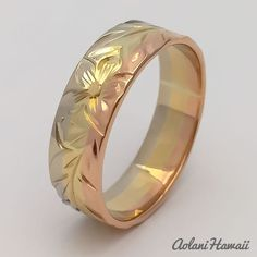 Traditional Hawaiian Hand Engraved 3 Tone 14k Gold Ring (Flat style)