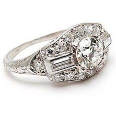 1930's Art Deco Antique Old European Cut Diamond Engagement Ring Platinum Filigree