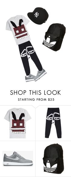 """""""Untitled #29"""" by candyvmo ❤ liked on Polyvore featuring McQ by Alexander McQueen, NIKE, adidas, New Era, mens, men, men's wear, mens wear, male and mens clothing"""