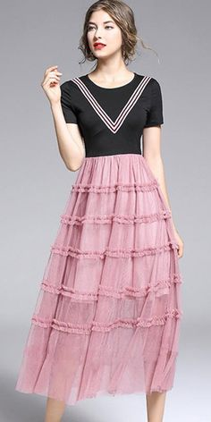 Buy Elegant Screw Thread Stitching Tiered Skater Dress with High Quality and Low Price. Every Woman, Skater Dress, Casual Dresses For Women, Dress Making, Designer Dresses, Cape, Stitching, Elegant, Wedding Dresses